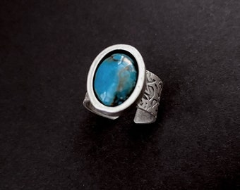Turquoise Ring, Turquoise Jewelry, Boho Jewelry, Wide Silver Ring, Turquoise Gemstone, Boho Ring, Gemstone Jewelry, Under 50, Gifts For Her