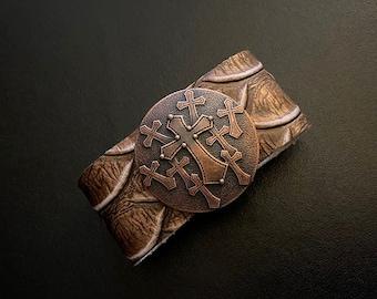 Wide Band Bracelet, Cross Jewelry, Wide Cuff, Copper and Leather, Western Jewelry, Concho Bracelets, Chunky Bracelets, Leather Bracelets