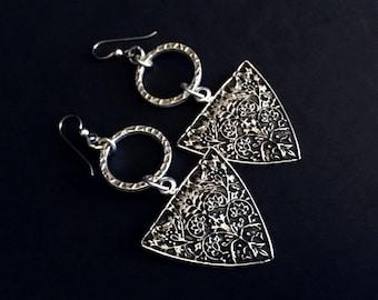 Boho Jewelry, Festival Jewelry, Tribal Earrings, Ethnic Dangles, Hippie Chic, Festival Dangles, Silver Earrings, Under 50, Gifts For Her