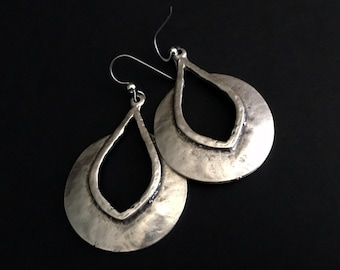 Boho Earrings, Silver Earrings, Chunky Jewelry, Festival Accessories, Chunky Silver, Hippie Chic, Dangle Earrings, Under 50, Gifts For Her