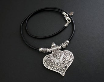 Heart Necklace, Statement Jewelry, Pendant Necklace, Heart Jewelry, Boho Jewelry, Tribal Pendant, Silver and Leather, Gifts for Her