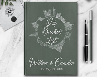 Personalized Notebook Our Bucket List Custom Couple Travel Journal Customized Adventure Memory Book Best Wedding Engagement Hiking Gift