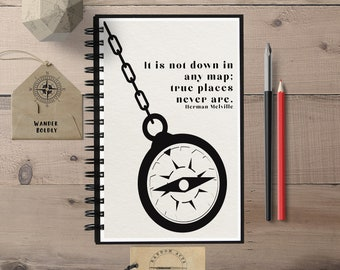 Not Down on any Map, Herman Melville, Travel Gift, Bullet Journal, Travel Notebook, Spiral Notebook, Travel Diary, Travel Journal