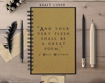 Poetry Notebook, Writing Journal, Walt Whitman,  Journal, Spiral Notebook, Lined, Blank, Dot, Chalkboard Cover