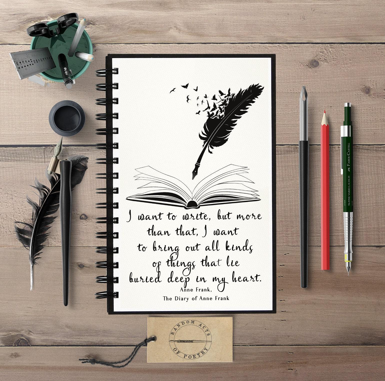 Citaten Uit Dagboek Anne Frank : Anne frank citaat notebook journal schoolse gift schrijven etsy