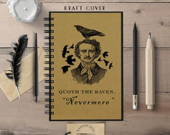 Writing Journal, Edgar Allan Poe, The Raven, Bookish, Journal, Hardcover Notebook, Spiral Notebook, Lined, Blank, Bullet Journal