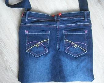 fancy blue jean bag fully lined