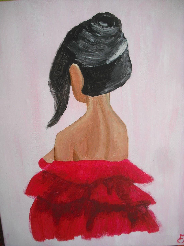 Tableau Représentant Une Femme Vêtue Dune Robe Rouge Vue Etsy