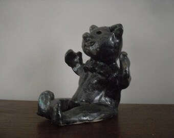 Sitting cat terracotta glazed hot