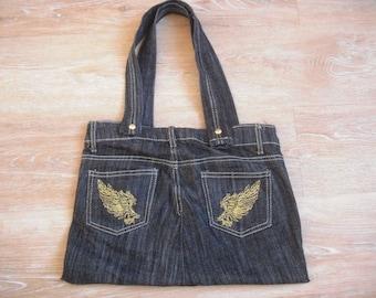 Blue Denim bag fully lined to bring to the golden wings dark ' shoulder