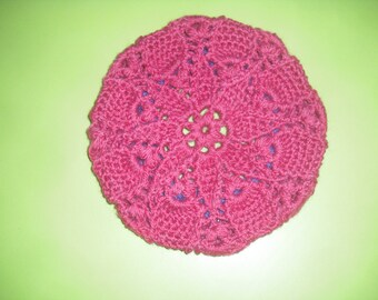 beret wool and acrylic, raspberry and purple handmade crochet little girl size