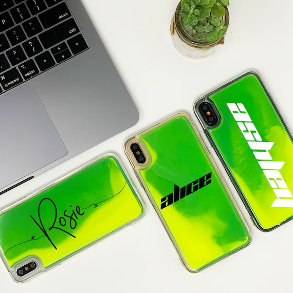 coque iphone xs liquide neon
