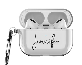 Personalized Airpods Pro Case with Keychain and running Strap, clear Airpods Pro Case, Airpods pro cover customized name