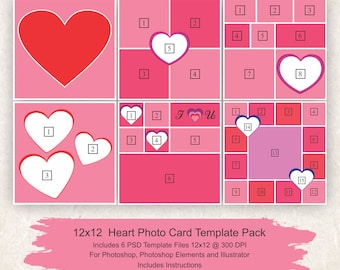 5x7 and 8x10 photo collage template 12 pack hearts card etsy