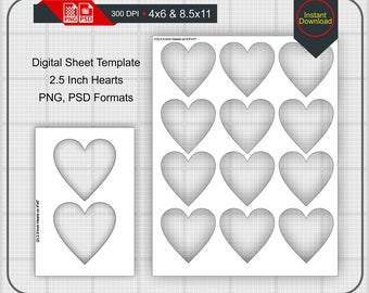 25 Inch Heart Shape Blank Digital Sheet 4x6 And 85x11 Print Size Template PNG PSD Instant Download H 025