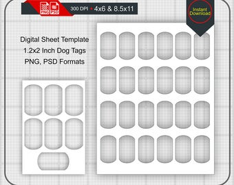 Instand Download 12x2 Inch Military Dog Tags Templates On 4x6 And 85x11 Sheets DXF PNG PSD
