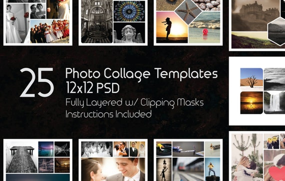 12x12 photo collage templates pack 25 psd templates etsy