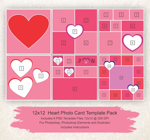 12x12 Photo Collage Template 6 Pack Hearts Card Template Etsy