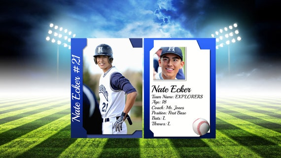 Sports Trading Card Template For Photoshop 25 X 35 Digital Trading Cards Fully Customizable Psd Files Sports Teams Birthday Invitations