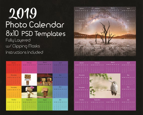 8x10 Photo Calendar Template 2019 Photoshop Template Etsy