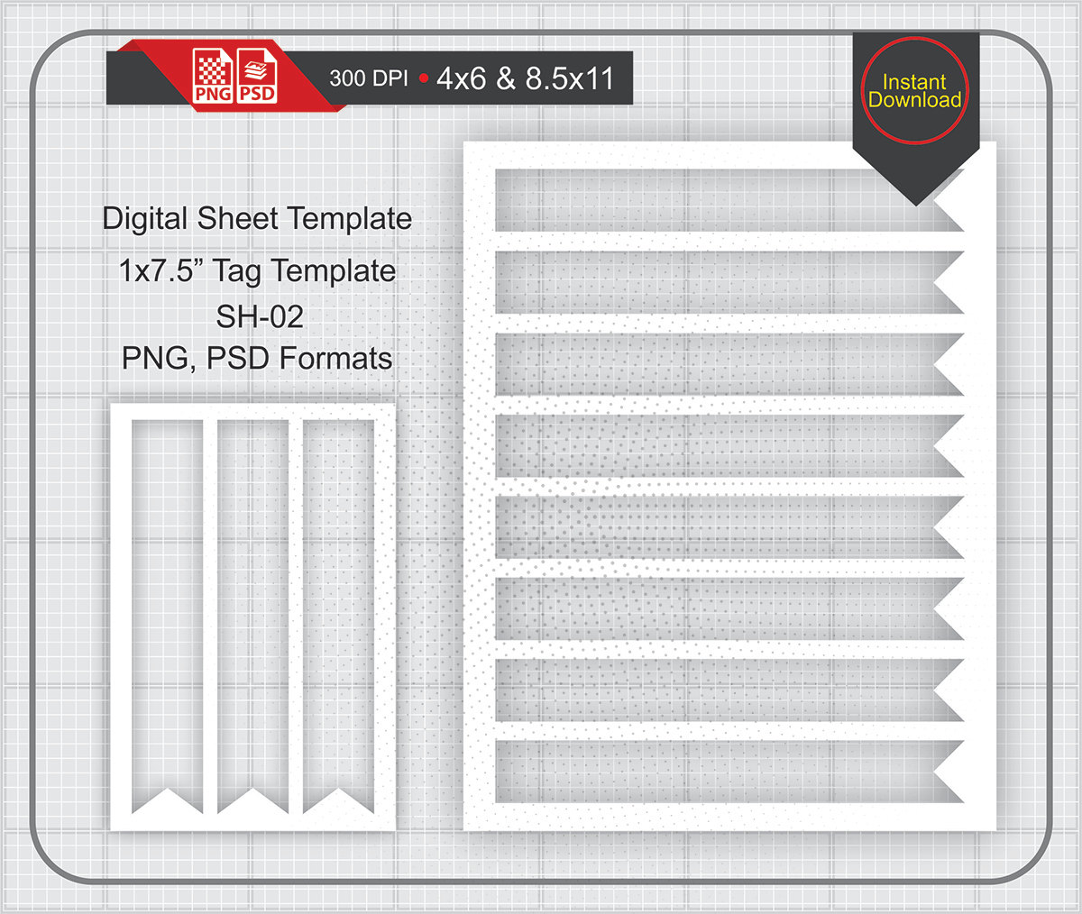 1x7.5 SoHo Tag/Label Template Instand Download Make | Etsy