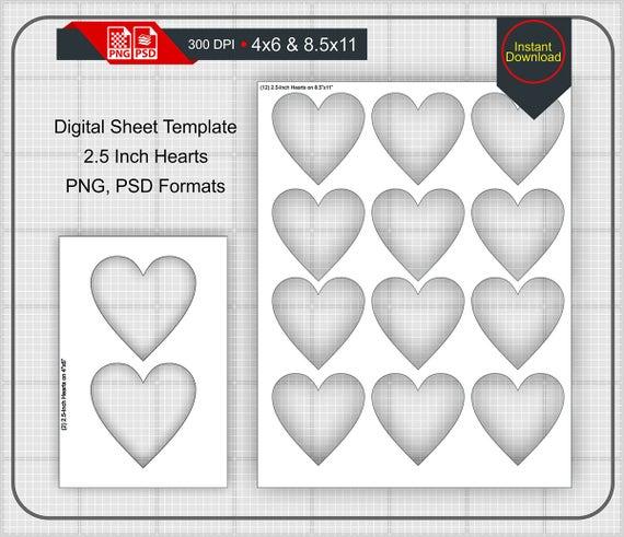 25 Inch Heart Shape Blank Digital Sheet 4x6 And 85x11 Print
