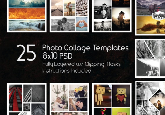 8x10 Photo Collage Templates Pack 25 PSD Templates Photoshop Etsy