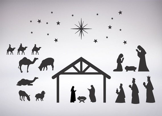 Nativity Scene Silhouette For Vinyl Crafts Scrapbooking Etsy On this page presented 34+ free nativity scene silhouette photos and images free for download and select any of these free nativity scene silhouette pictures that best fits your web designs or. etsy