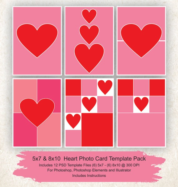 5x7 and 8x10 photo collage template 12 pack hearts card etsy image 0 maxwellsz