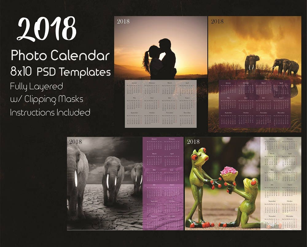 8x10 Photo Calendar Template 2018 2 Psd Templates Photoshop Etsy