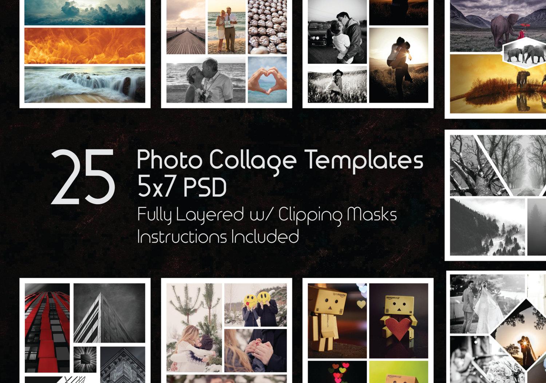 5 x 7 Photo Collage Template Pack 25 PSD-Vorlagen Photoshop   Etsy