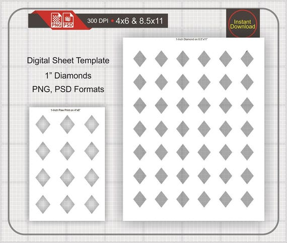 1 diamond shape template instant download make your own etsy