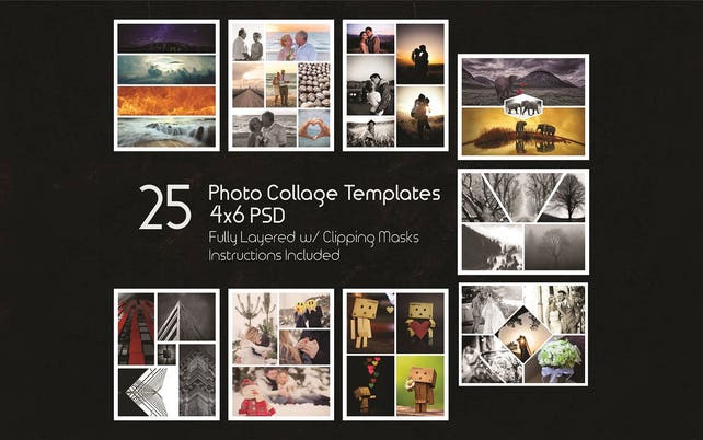 4x6 Photo Collage Templates Pack 25 PSD Templates Photoshop | Etsy