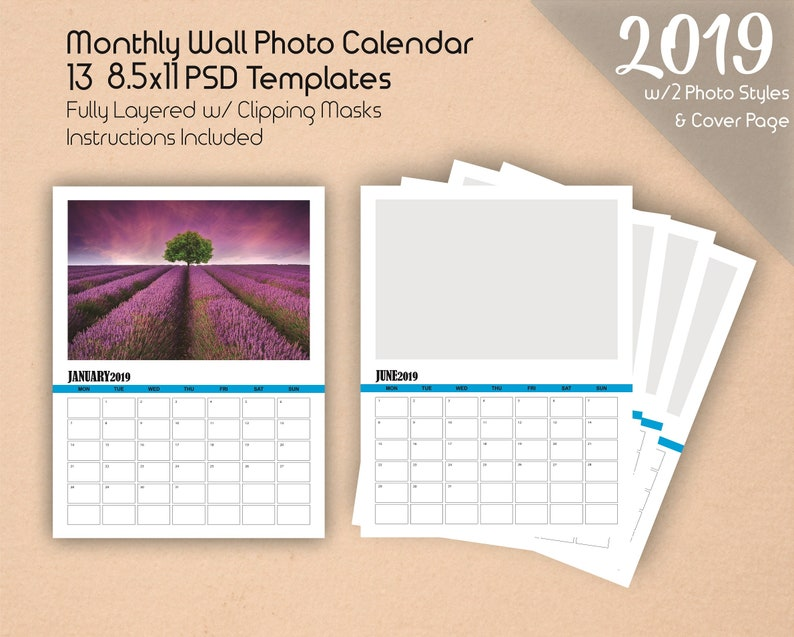 85x11 Wall Photo Calendar Template 2019 Photoshop Template Etsy