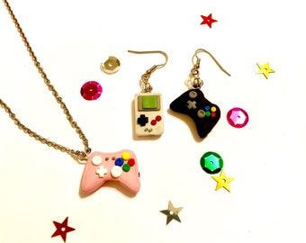 Gaming Console and Game Boy Earrings or Necklace | Xbox Controller Earrings | Gameboy Earrings | Pink Xbox necklace | Gamer | Geekgirl