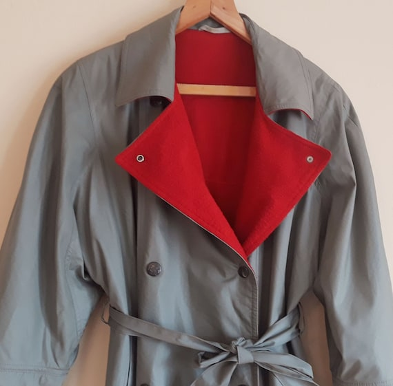 Vintage 80s Mura Coat,Warm Red Lined Trench Coat,B