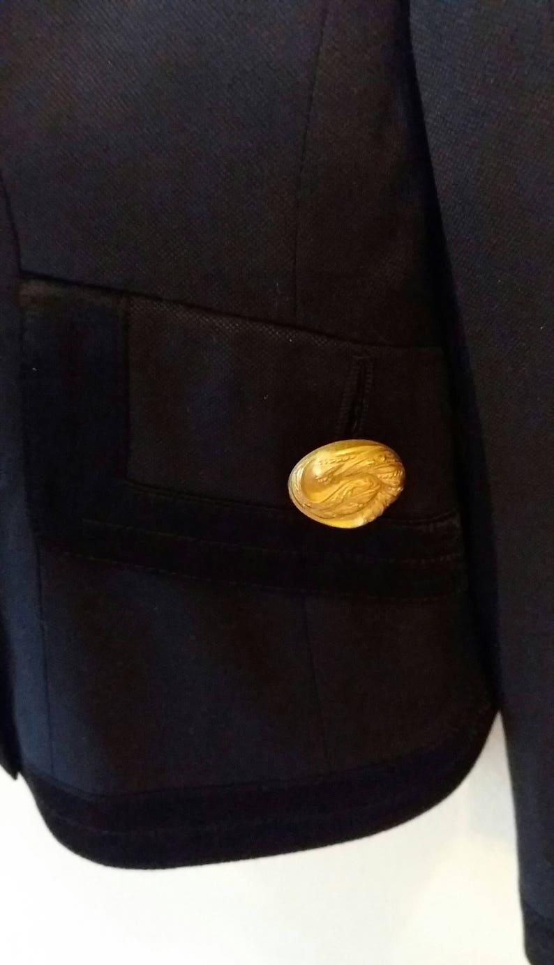 Vintage Designer Bernd Berger Black Blazer,Double Breasted Blazer,Decorative Large Gold Buttons,Fully Lined Blazer,Decorative Satin Border