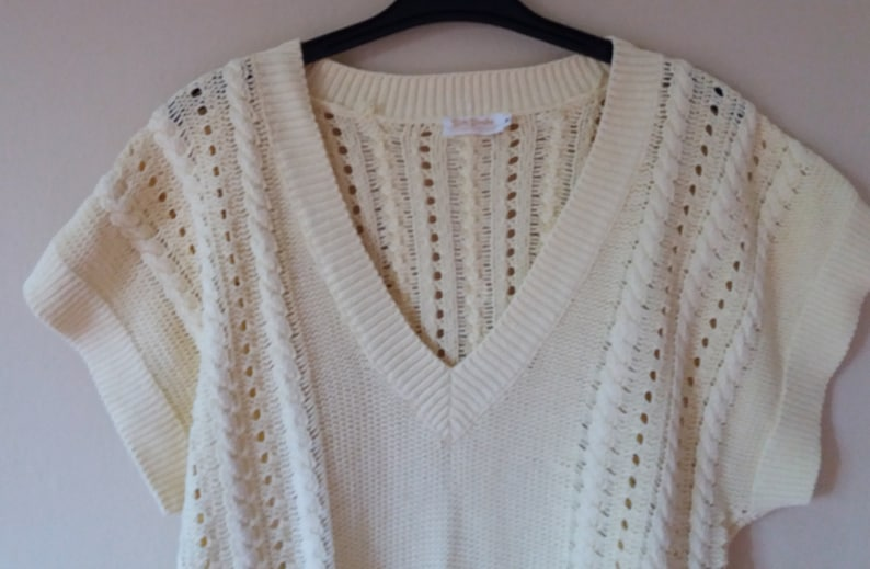 824929c78 Vintage 90s Betty Barclay Knitted Yellow Braiding Pattern Lowered Shoulders  Oversize Top Cardigan