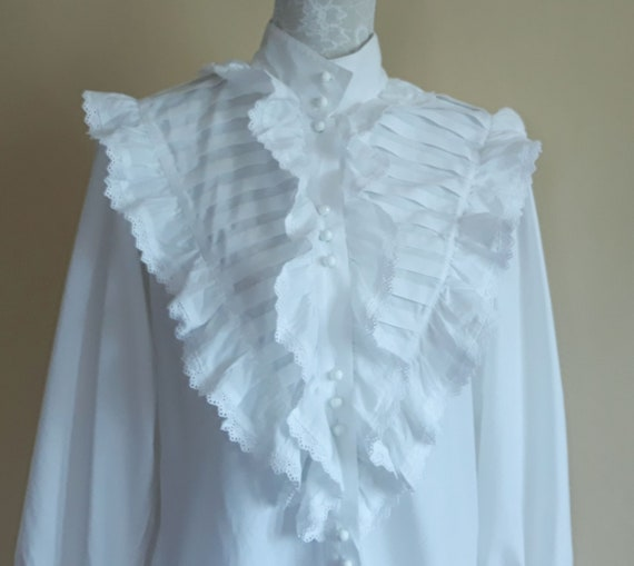 Vintage 70s Victorian Style Blouse White Embroider