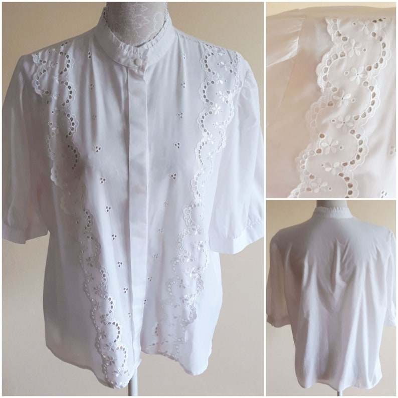 Vintage 70s White Dirndl Blouse,Embroidered Floral Ruffle Blouse,Short Puffy Sleeve Size US M Summer Blouse