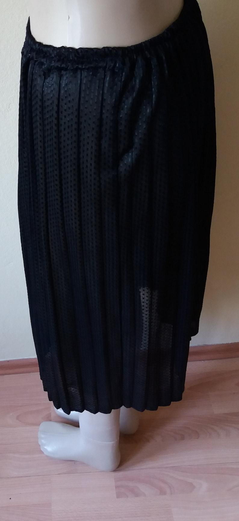 Vintage 80s Sewn Pleated Skirt,Black Transparent Shiny Dots Fabric Skirt,Elastic Waist Midi Length Size LXL Skirt