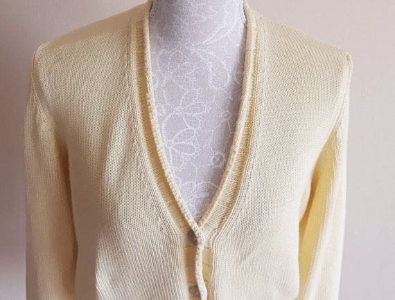 Vintage Cropped Knitted Cardigan,Yellow Buttons Fr