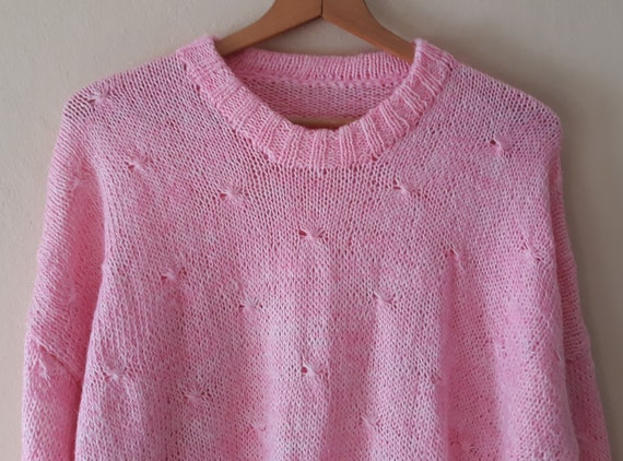 Vintage 90s Hand Knit Light Pink with Shiny Pink W