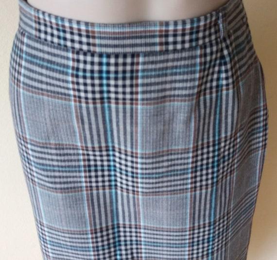 Vintage 80s Plaid Skirt,Gray Beige Turquoise Skirt,Slits Side and in Back Skirt,Lined Size US M Skirt