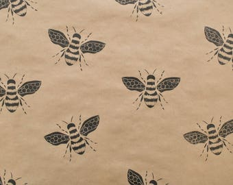 Bumble Bee Wrapping Paper, Bee Gift Wrap, Lino Printed Wrapping Paper, Father's Day Wrapping, Printed Brown Paper, Stamped Wrapping Paper