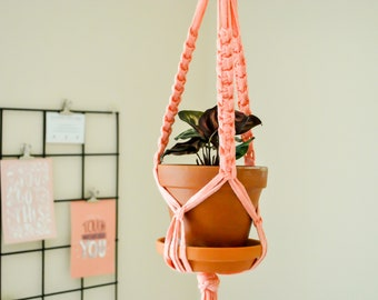 Peach Macrame Plant Hanger, 100 Percent Recycled Plant Hanger, Houseplant Knotted Plant Hanger, Pink Macrame Planter, Pink Plant Hanger