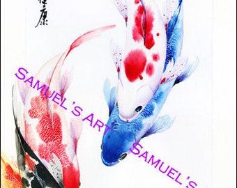 Giclee Print, Art, Artwork, Fine Art, Painting, Home Decor, Gift, Print, Samuels Art, Present, Wall Decor, Koi Fish, Fish