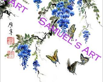 Giclee Print, Art, Artwork, Fine Art, Painting, Home Decor, Gift, Print, Samuels Art, Present, Wall Decor, Wisteria, Butterfly, Flower, Tree