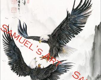 Giclee Print, Art, Artwork, Fine Art, Painting, Home Decor, Gift, Print, Samuels Art, Present, Wall Decor, Eagle, Bird, Oriental Art