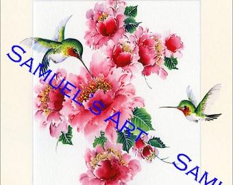 Giclee Print, Art, Artwork, Fine Art, Painting, Home Decor, Gift, Print, Samuels Art, Present, Wall Decor, Humming Bird, Flower, Humming